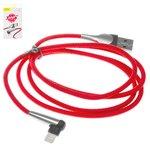 USB-кабели Baseus, USB тип-A, Lightning, 100 см, красный, с индикатором, для зарядки телефона, Г-образный, в нейлоновой оплетке, 2,4 А, #CALMVP-D09